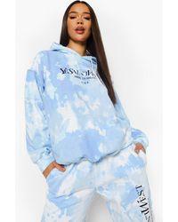 Boohoo Ye Saint West Tie Dye Oversized Hoodie - Blue