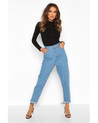 Boohoo Mid Rise Boyfriend Jeans - Blue