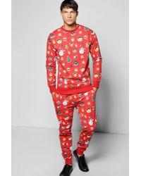 Boohoo All Over Xmas Print Tracksuit - Red