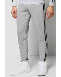 Boohoo Sports Stripe Joggers - Grey