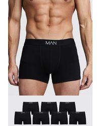 """BoohooMAN 7er-Pack """"MAN""""-Boxershorts - Schwarz"""