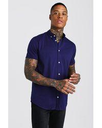 BoohooMAN Short Sleeve Regular Collar Jersey Shirt - Blau