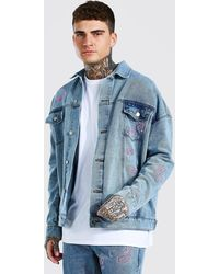 BoohooMAN Oversized Paisley Embroidered Denim Jacket - Blue