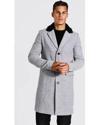 BoohooMAN Tall smarter Mantel mit Kunstpelz-Kragen - Grau