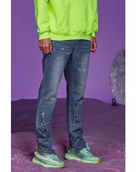 BoohooMAN Skinny Rigid Jeans With Paint Splatter - Blue