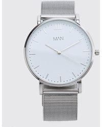 BoohooMAN Armbanduhr mit Netzstoff und MAN-Streifen - Mettallic