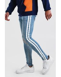 BoohooMAN Super Skinny Distressed Painted Stripe Jean - Blue