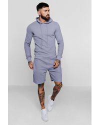 BoohooMAN Pique Hoodie And Short Tracksuit - Blue