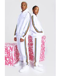 BoohooMAN Pride Hooded Tracksuit With Tape Detail - Weiß