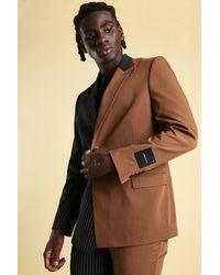 BoohooMAN MAN Pinstripe Spliced Double Breasted Suit Jacket - Marron