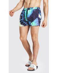 BoohooMAN Swirl Tie Dye Short Length Swim Shorts - Blue