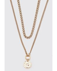 BoohooMAN Double Layer Chain With Old Coin Pendant - Metallic