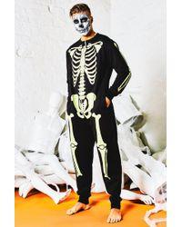 BoohooMAN Glow In The Dark Skeleton Onesie - Black