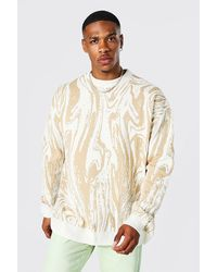 BoohooMAN Oversize Strick-Pullover mit Muster - Natur