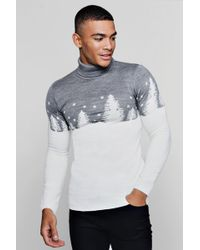 Boohoo - Muscle Fit Forest Roll Neck Christmas Jumper - Lyst