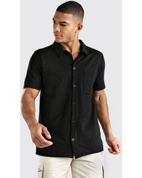 BoohooMAN Short Sleeve Utility Button Through Shirt - Black