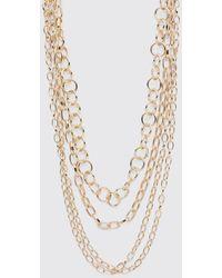 BoohooMAN Multi Layer Chain Necklace - Métallisé