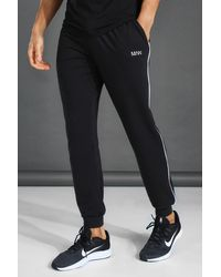 BoohooMAN Man Tapered Jersey Jogger With Side Piping - Black