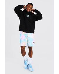 BoohooMAN Oversize Drip Face Hoodie & Tie Dye Short Set - Black