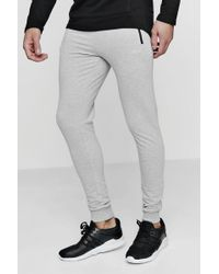 BoohooMAN Skinny Fit Active Gym Sweatpants With Zip Pockets - Gray