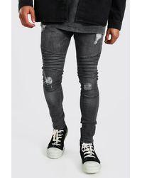 BoohooMAN Super Skinny Biker Jeans mit Rissen - Grau