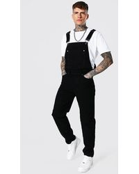 BoohooMAN Relaxed Fit Official Print Long Overall - Black