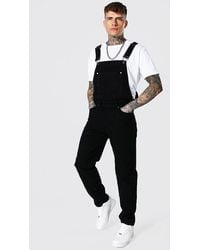BoohooMAN Relaxed Fit Official Print Long Dungaree - Black