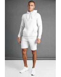 BoohooMAN Man Active Gym Tapered 1/4 Zip Short Set - Grey