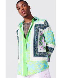 BoohooMAN Langärmeliges Hemd mit hellem Barockmuster - Grün