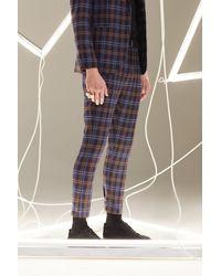 BoohooMAN Pantalon de complet court skinny en tartan - Multicolore