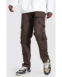 BoohooMAN Fixed Waistband Relaxed Fit Twill Cargo Trousers - Brown