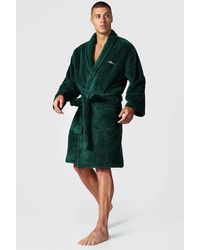 BoohooMAN Man Signature Fleece Dressing Gown - Green