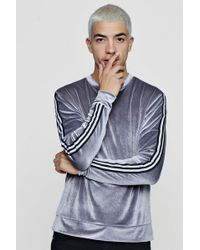 Boohoo - Velour Sweater With Sports Rib Panel - Lyst