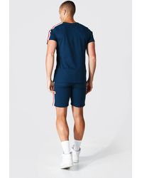 BoohooMAN 3d Man Embroidered Tape T-shirt And Short Set - Blue