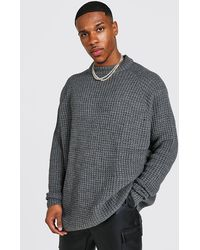 BoohooMAN Oversize-Pullover mit Raglanärmeln und Waffelmuster - Grau