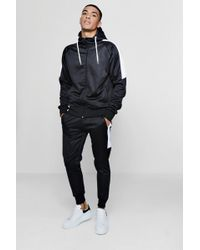 Boohoo - Tricot Zip Through Tracksuit With Contrast Panels - Lyst
