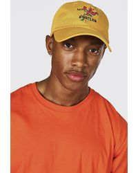 BoohooMAN Washed Floral Embroidery Cap - Yellow