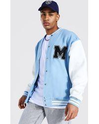 BoohooMAN M Applique Badge Jersey Varsity Bomber Jacket - Blue