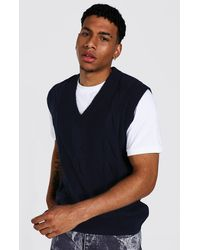 BoohooMAN Oversized Cable Knit Vest - Blue