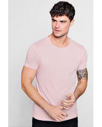 Boohoo - Raw Edge Crew Neck T-shirt - Lyst