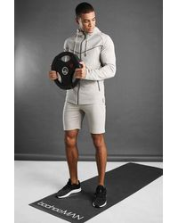 BoohooMAN - Man Active Hooded Short Set With Piping - Lyst