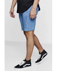 Boohoo   Loose Fit Skater Denim Shorts With Raw Hem   Lyst