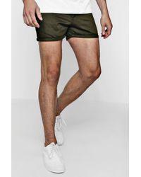 Boohoo - Short Length Slim Fit Chino Short In Khaki - Lyst