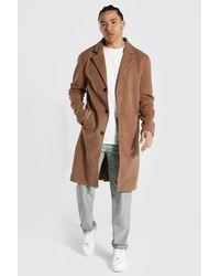 BoohooMAN Tall Summer Wool Overcoat - Natural