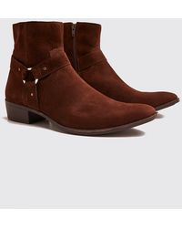 BoohooMAN Harness Side Faux Suede Chelsea - Brown