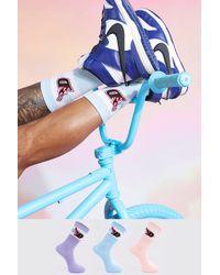 BoohooMAN 3 Pack Jacquard Socks - Blue