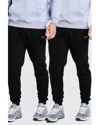 BoohooMAN 2 Pack Skinny Fit Original Man Embroidered Joggers - Black