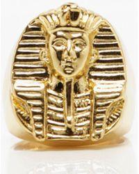 Boohoo Egyptian Engraved Signet Ring - Metallic