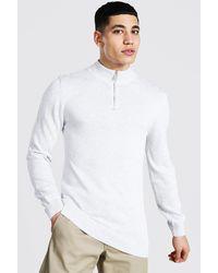 BoohooMAN Pullover mit Trichterkragen und halbem Reißverschluss - Grau