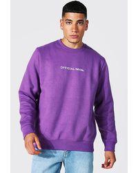 BoohooMAN Official Man Crew Neck Sweatshirt - Purple